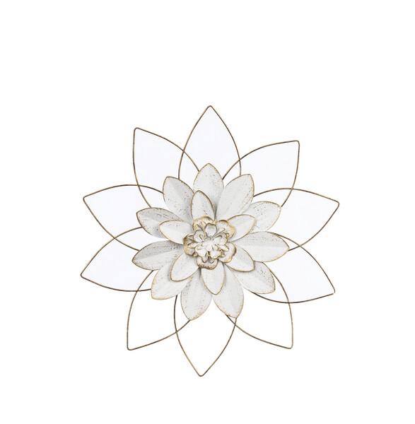 White & Gold Open Work Layered Flower Sm