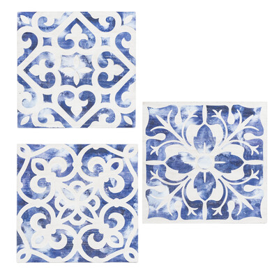 Carved Blue & White Tile Wall Decor