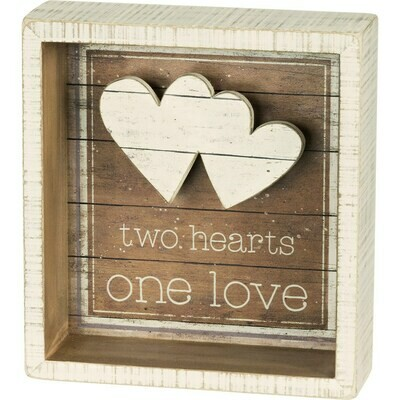 Two Hearts One Love Reverse Box Sign