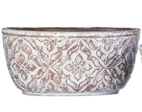 Patterned Oval Pot Lg