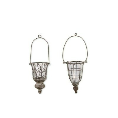 Gray Washed Wire & Glass Hanging Holder Sm.