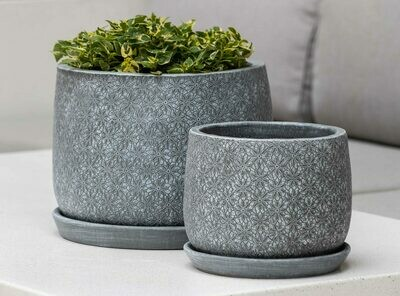 Marguerite Round Planter - Etched Grey