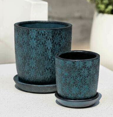 Marguerite Round Planter - Etched Blue