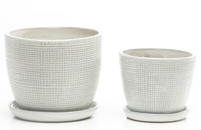 Grand Pin Check Planter w / Saucer - Cotton