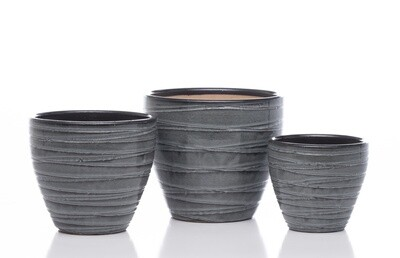 Grooved Egg Short Planter - Tropic Grey