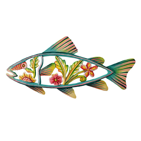 "Painted Flower Fish 12""x5.5"""