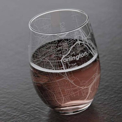 Maps stemless wine glass - Arlington