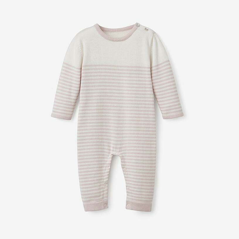 EB Mini Stripe Knit Jumpsuit Pink