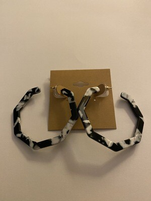 Black White Octagon Hoops