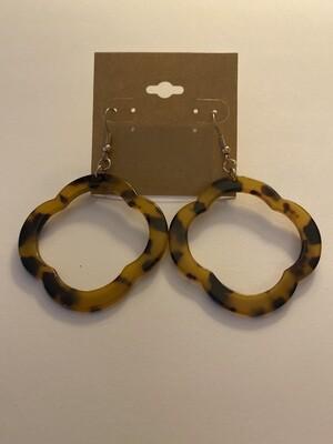 Tort Drop Circle Earrings