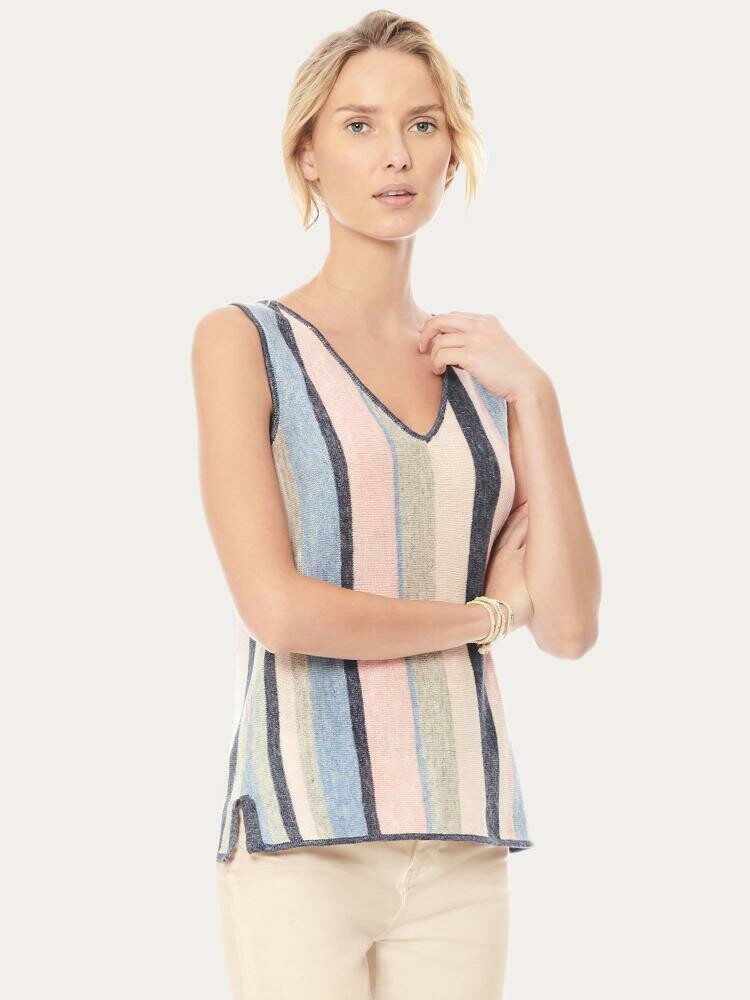 Ecru Striped Linen V Neck - XL