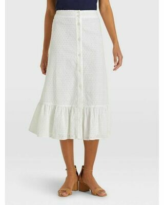 Draper James Eyelet Button Front Skirt White - XS