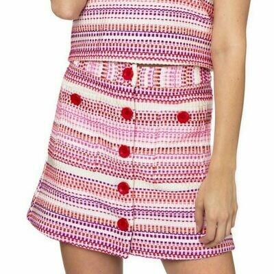Julie Brown Pink Stitch Tweed Skirt - 10