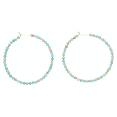eNew amazonite sincerity pattern hoop earring