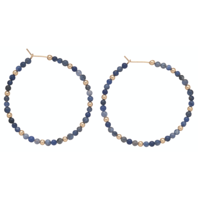 eNew sodalite sincerity pattern hoop earring