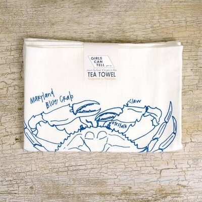 GCT Tea Towel - blue crab