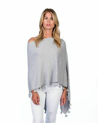 Cotton/cashmere tassel poncho - ash