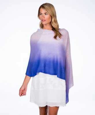 Cashmere Ombre Poncho  - blue/grey