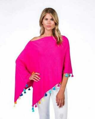 Cotton/cashmere tassle poncho - malibu combo
