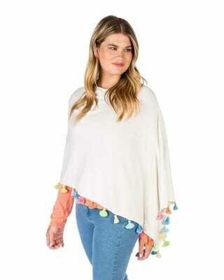 Cotton/cashmere tassle poncho - white combo