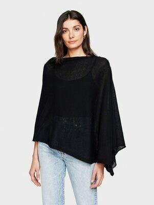 WW Cotton/Linen Poncho - Black