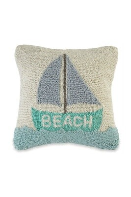 SAILBOAT BEACH HOOKED PILLOW