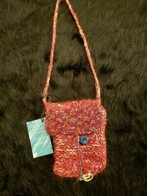 Cell phone satchel with scissor charms-Knitted Bags by Hazel