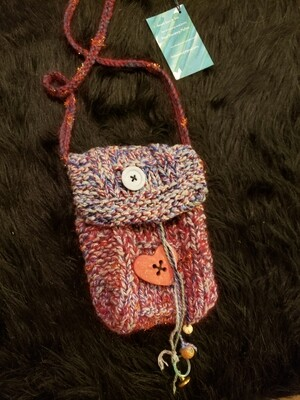 Cell phone satchel with wooden heart button- Knitted Bags by Hazel