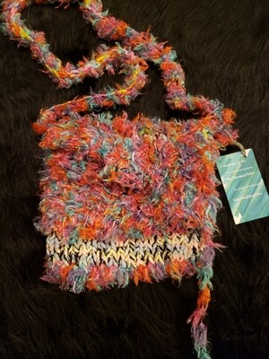 Cell phone satchel or purse with pattern stripe- Knitted Bags by Hazel