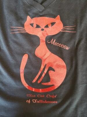 Red Glitter Cat Shirt-Fitted Cut