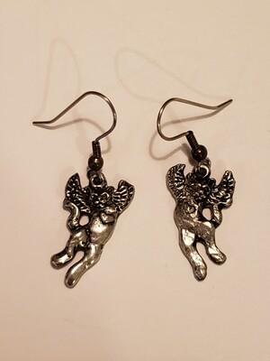 Pewter Angel Cat Earrings- Diane Sams