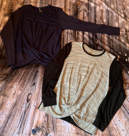 Pete- crew navy/strip and black twist shirts
