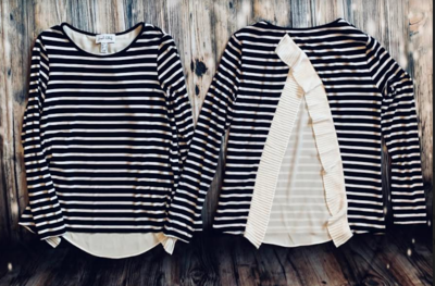 Joseph Ribkoff blue/white horizontal strip blouse style#192924