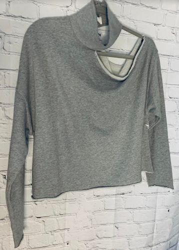 six/fifty grey cut sweatshirt