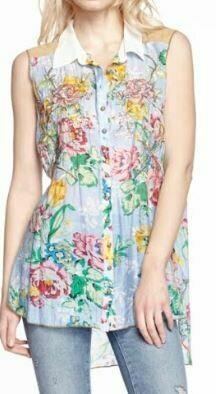 Aratta blue floral sleeveless shirt