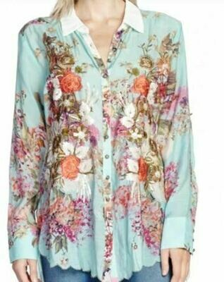 Aratta teal floral shirt
