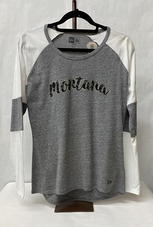 Tri-Blend Baseball T- Gray & White w/black Lace MT