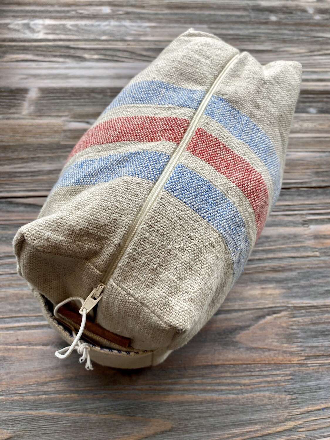 Cotton Blue Red Striped Cosmetic Bag