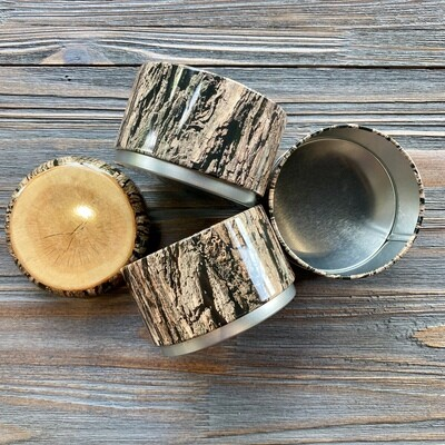 Stacking Wood Tin Canisters