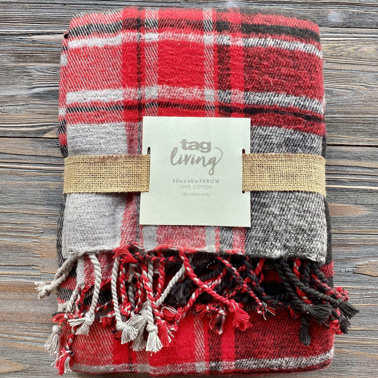 Lodge Plaid Throw with Fringe