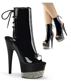ADORE-1018 CHROME PLATED OPEN TOE/HEEL BOOT 8