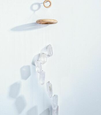 Natural Clear Quartz Crystal Points Hanging Mobile