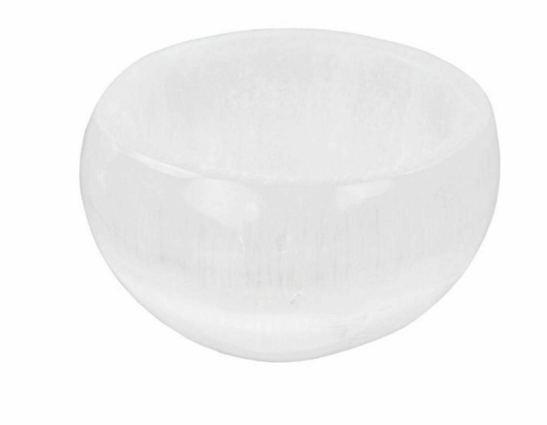 Gemstone Carving Selenite Bowl White