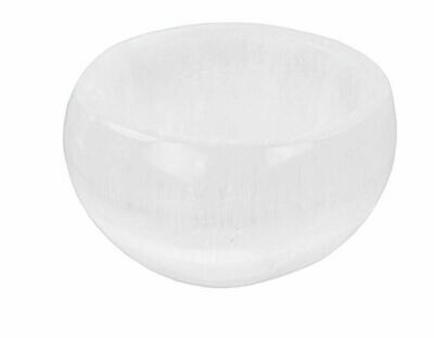 Gemstone Carving Selenite Bowl White