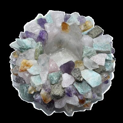 Natural Mixed Gemstones Votive Holder Small