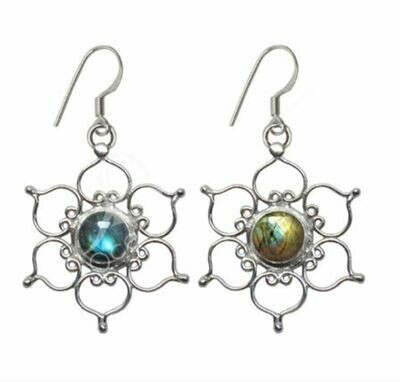 Laboradite Lotus Earrings Sterling Silver