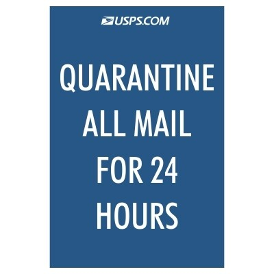 Quarantine All Mail for 24 Hours - USPS Sign - Spanish