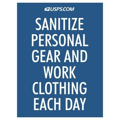 Sanitize Personal Gear and Work Clothing Each Day - USPS Sign