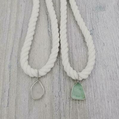 Rope Necklace with Bezel Set Lake Erie Beach Glass