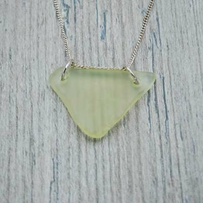 Yellow Triangle Maine Sea Glass Necklace